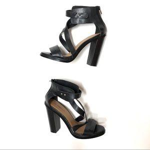 JustFab Black Richelle Strappy Heeled Sandals